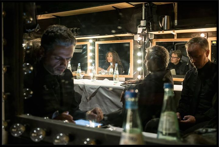 An impression of our gig in Berlin in July 2015: In the mirrors Josephine Singer (voc) and Benjamin Heusch (guit), and Claudio Provenzano (drums) with Stefan Nommensen